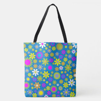 Flower Profusion Blue Tote Bag