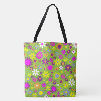 Flower Profusion Green Tote Bag