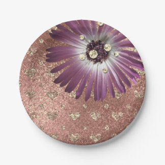 Flower Purple Blush Hearts Rose Gold Diamond Glass 7 Inch Paper Plate
