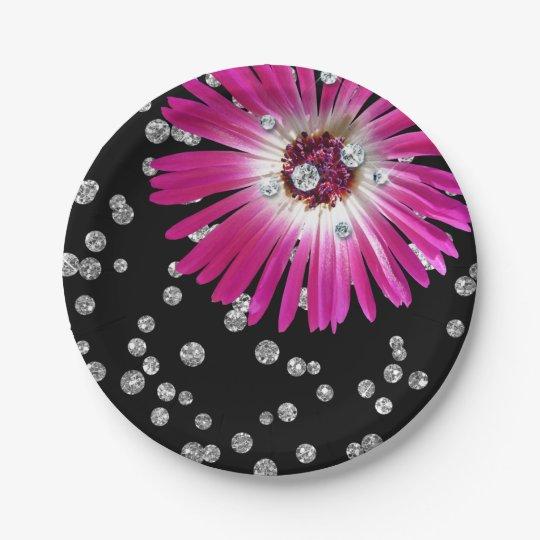 Flower Purple Bright Pink Rose Diamond Black Paper