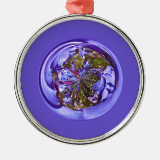 Flower purple in the globe Silver-Colored round decoration