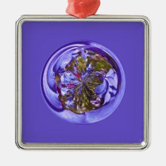 Flower purple in the globe Silver-Colored square decoration