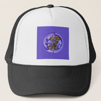 Flower purple in the globe trucker hat