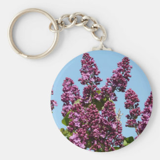 flower,purple lilac basic round button key ring