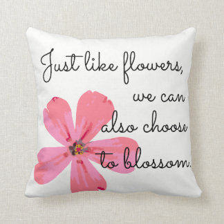 Flower quote throw pillow