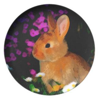 Flower Rabbit Dinner Plate