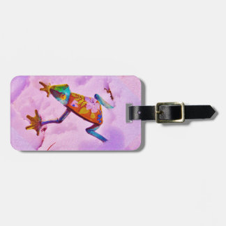Flower rainbow frog on orchid color snow luggage tag