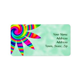 Flower Rainbow Twirl Address Label