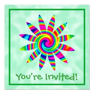 Flower Rainbow Twirl 13 Cm X 13 Cm Square Invitation Card