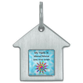 Flower Rainbow Twirl Pet Name Tag
