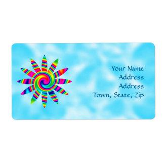 Flower Rainbow Twirl Shipping Label
