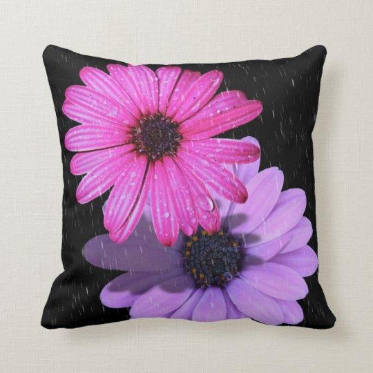 Flower raindrop throw pillow