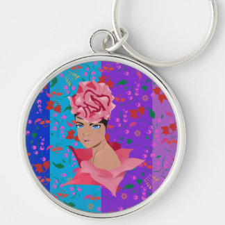 Flower Renewal Bright Floral Girl Silver-Colored Round Key Ring