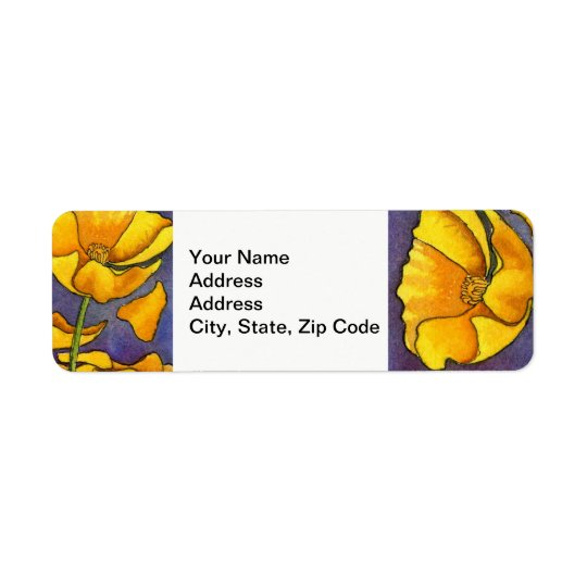 Flower Return Address Label , line floral poppy .