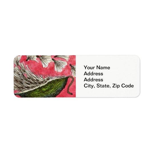 Flower Return Address Label , milkweed pod.