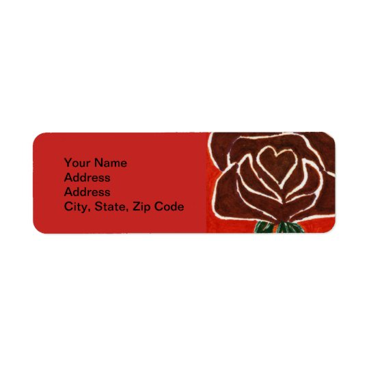 Flower Return Address Label, rose heart 7