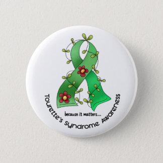 Flower Ribbon 1 Tourette's Syndrome 6 Cm Round Badge