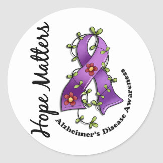 Flower Ribbon 4 Hope Matters Alzheimer s Disease Stickers
