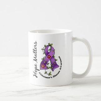 Flower Ribbon 4 Hope Matters Alzheimer's Disease Coffee Mugs