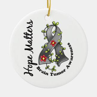 Flower Ribbon 4 Hope Matters Brain Tumor Christmas Ornament