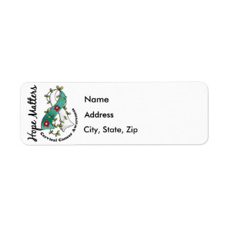 Flower Ribbon 4 Hope Matters Cervical Cancer Return Address Label