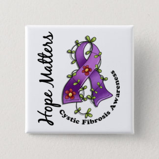 Flower Ribbon 4 Hope Matters Cystic Fibrosis 15 Cm Square Badge