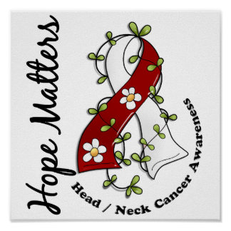 Flower Ribbon 4 Hope Matters Head Neck Cancer Poster