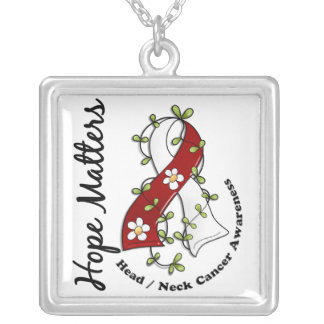 Flower Ribbon 4 Hope Matters Head Neck Cancer Square Pendant Necklace