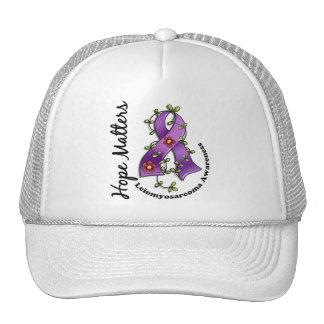 Flower Ribbon 4 Hope Matters Leiomyosarcoma Mesh Hat