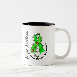 Flower Ribbon 4 Hope Matters Lyme Disease Coffee Mugs