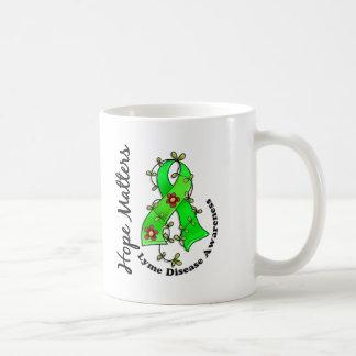 Flower Ribbon 4 Hope Matters Lyme Disease Classic White Coffee Mug