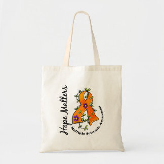 Flower Ribbon 4 Hope Matters Multiple Sclerosis Canvas Bags