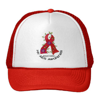 Flower Ribbon AIDS HIV AWARENESS T-Shirts & Gifts Cap