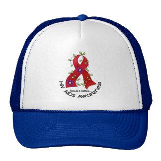 Flower Ribbon AIDS HIV AWARENESS T-Shirts & Gifts Trucker Hat
