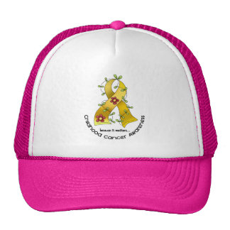 Flower Ribbon CHILDHOOD CANCER AWARENESS T-Shirts Trucker Hat
