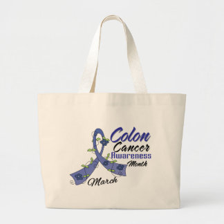 Flower Ribbon Colon Cancer Awareness Month Canvas Bag