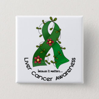 Flower Ribbon LIVER CANCER (EMERALD GREEN Ribbon) 15 Cm Square Badge
