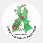 Flower Ribbon ORGAN DONATION AWARENESS Apparel Round Sticker