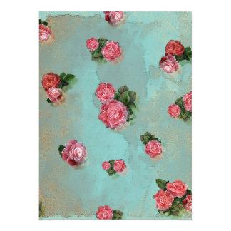 Flower Roses floral blue pink nostalic 14 Cm X 19 Cm Invitation Card
