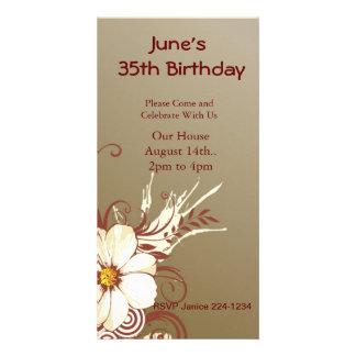 Flower Scroll Happy Birthday Customized Photo Card