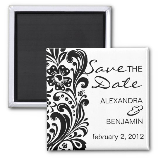 Flower Scroll | Save the Date Magnet