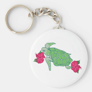 Flower sea turtle key chain