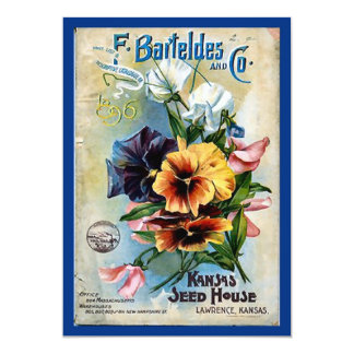 Flower Seed Packs Vintage Art 13 Cm X 18 Cm Invitation Card