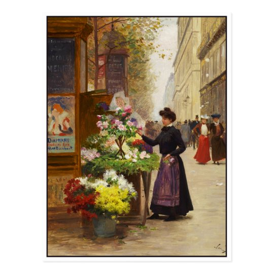 Flower Seller in Paris by Victor Gilbert Postcard