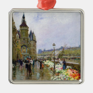 Flower Sellers by the Seine Christmas Ornament
