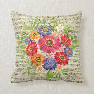 "Flower Sheet Music Throw Pillow 16"" x 16"""