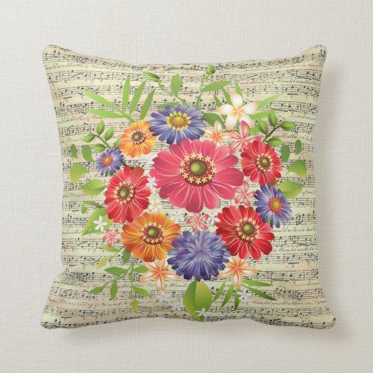 """Flower Sheet Music Throw Pillow 16"""" x 16"""""""