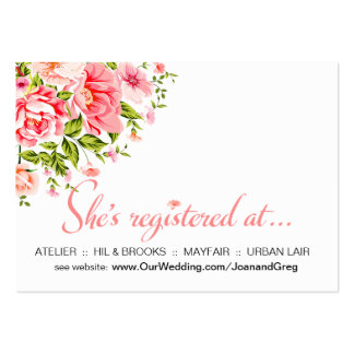 Flower Shower Registration Insert | baby pink Pack Of Chubby Business Cards