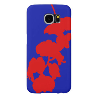 Flower Silhouette, Red and Blue Samsung Galaxy S6 Cases