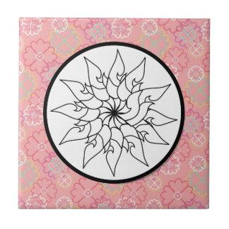 Flower Sketch Circle on PInk Purple Floral Pattern Tiles
